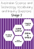 Australian Science Vocabulary and Inquiry Questions Stage 2