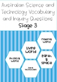 Australian Science Vocabulary and Inquiry Questions Stage 3