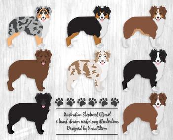 Australian Shepherd Illustrations - 8 Hand Drawn Herding Dog Clipart Images