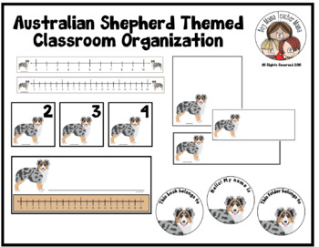 Australian Shepherd Themed Classroom Organization Materials