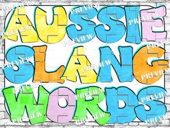 Australian Slang Words/Colloquial Terms Word Wall Poster Set