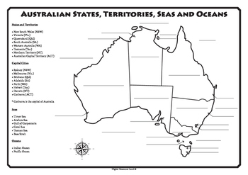 Map Of Australia Showing States And Capital Cities.Australian States Territories Capital Cities Seas And Oceans