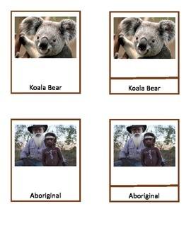 Australian Study, Montessori 3-part cards