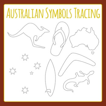 Australian Symbols Tracing Shapes - Dashed or Dotted Lines Clip Art Pack