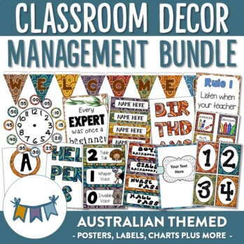 Australian Themed Classroom Management Decor - Editable!!