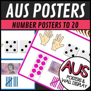 Australian Themed Number Posters 1-20 -Word, Ten Frame, Tally Marks, Money