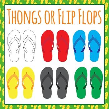 Australian Thongs (Flip Flops) Shoes Clip Art Set for Commercial Use