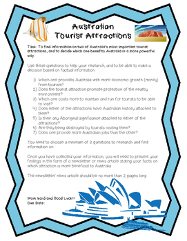 Middle School Research Project, Australian Tourist Attractions