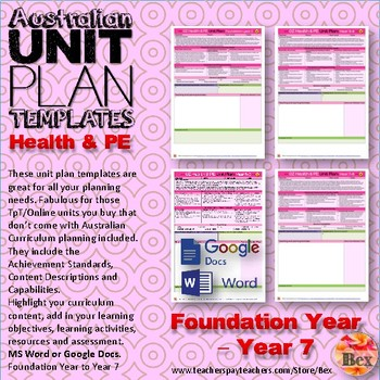 Australian Unit Plan Templates - Health and PE Pack - Foundation Year - Year 8
