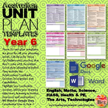 Australian Unit Plan Templates - Year 6