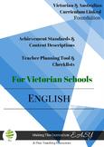 Australian & Victorian Curriculum ENGLISH Checklists Foundation Level