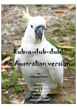 Australian Version Rub-a-dub-dub Poetry Workbook for Language Year 3/4