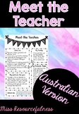 Meet the Teacher Information Sheet - Australian version