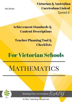 Australian & Victoria Curriculum Teacher Tool Maths Checklists  Level 6