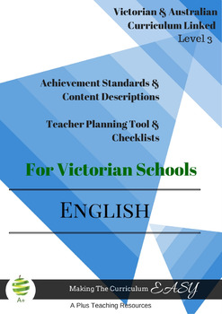 Australian & Victorian Curriculum ENGLISH Checklists  Level 3