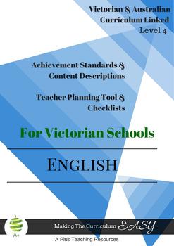 Australian & Victorian Curriculum ENGLISH Checklists  Level 4