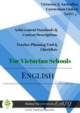 Victorian Curriculum ENGLISH Checklists  Level 4