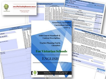 Victorian Curriculum ENGLISH Checklists  Level 4