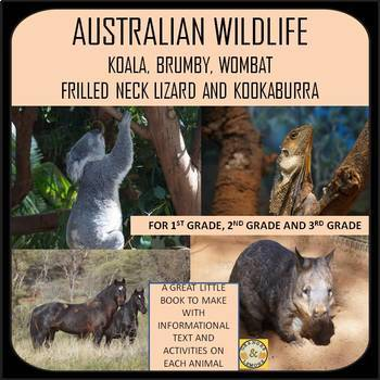 Australian Wildlife - Koala, Brumby, Wombat, Frilled Neck Lizard and Kookaburra