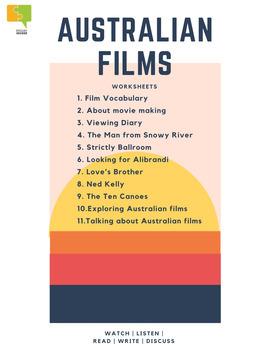 Film resource: 6 Australian films worksheets and flipbook