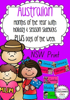 Australian holiday sidekicks - Months of the Year & Days of the Week (NSW Print)