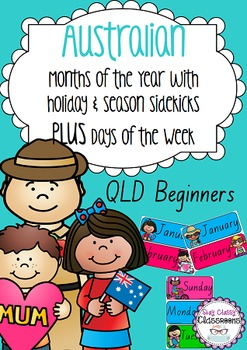 Australian holiday sidekicks - Months of the Year & Days of the Week (QLD Print)