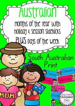 Australian holiday sidekicks - Months of the Year & Days of the Week (SA Print)