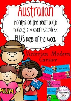 Australian holiday sidekicks - Months of the Year & Days of the Week VIC Cursive