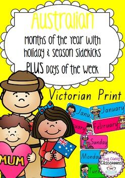 Australian holiday sidekicks - Months of the Year & Days o
