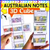 Australian money- Dollars notes 3D cube template paper craft- 3D shape worksheet