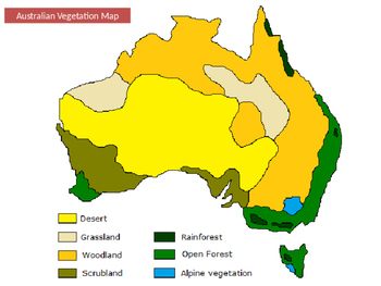 Australia Map Vegetation.Australian Vegetation Areas And Native Animals