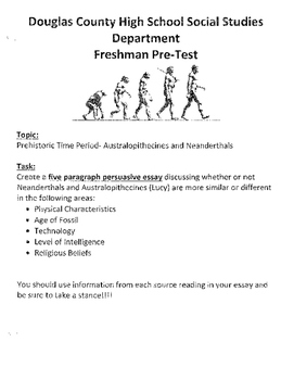 Australopithecus Vs. Neanderthals DBQ Essay with tips and graphic organizer
