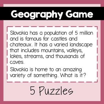 Geography Game: Austria, Czech Republic, Germany, Poland, Slovakia