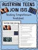 Austrian Teens Join ISIS Reading Comprehension, Terrorism, Syria, Iraq