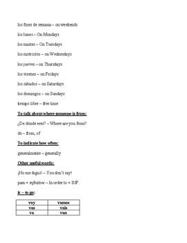 Auténtico 1: 4A Vocabulary List with Answers PDF