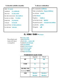 Auténtico 1 - 5A: Una fiesta de cumpleaños vocabulary list