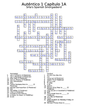 Auténtico 1 Chapter 1 vocabulary crosswords