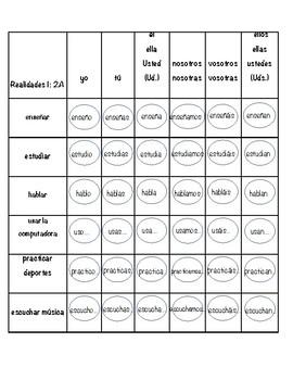 Auténtico 1: Chapter 2A -AR verbs Connect 4