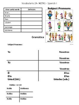 Auténtico 1 - Chapter 2A Unit Notes (Realidades)