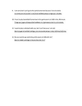 Auténtico 1 Chapter 4B Translate the 12 Sentences