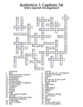 Auténtico 1 Chapter 5 vocabulary crosswords