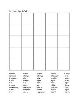 Auténtico 1: Chapter 5A Bingo