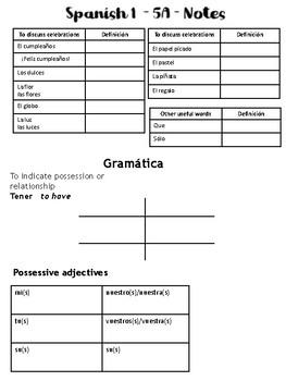 Auténtico 1 - Chapter 5A Unit Notes (Realidades)