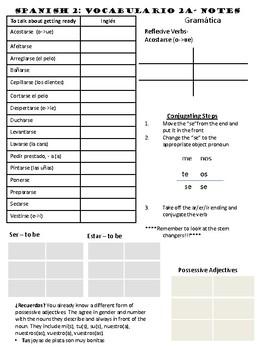 Auténtico 2 - Chapter 2A Unit Notes (Realidades)