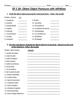 Auténtico 2 Chapter 3A -Direct Object Pronouns with Vocabulary (infinitives)