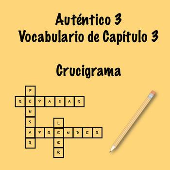 Auténtico 3 Chapter 3 vocabulary crossword