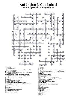 Auténtico 3 Chapter 5 vocabulary crossword