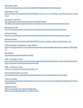 Authentic Articles in Spanish: extreme weather/natural disasters