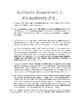 Authentic Assessment 2: It's Authentic if it..