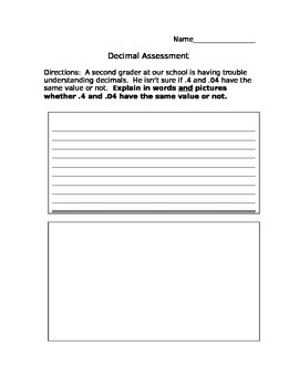 Authentic Decimal Assessment: Testing Understanding of Tenths and Hundredths